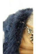 Mascara Feather Shrug FK042 Navy with capped sleeves