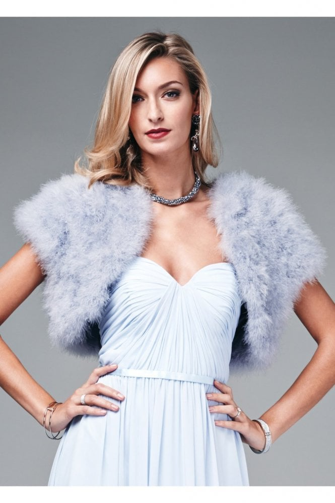 Mascara Feather Shrug FK042 Silver with capped sleeves