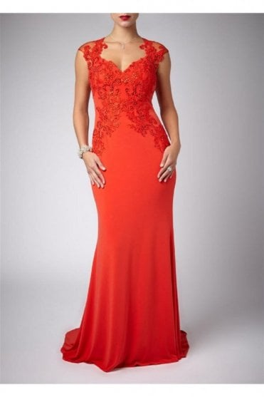 Flame Cap Sleeved Lace & Jersey Gown MC181085G