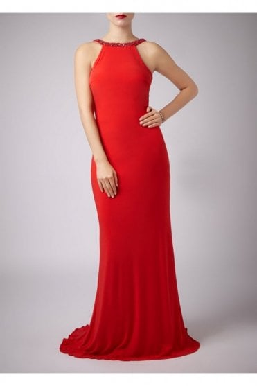 Flame Red Jewelled Drop Back Gown MC181089