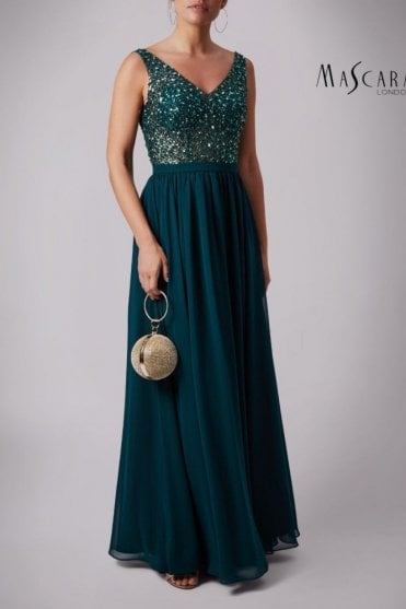 Forest Green MC186023 Beaded Shoulder dress