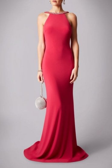 Fuchsia 181193 drop back pearl floor length gown