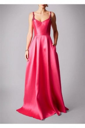 Fuchsia pink MC161072P satin sweetheart gown