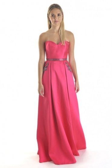 Fuchsia pink MC161075P satin sweetheart gown