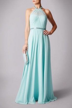 Ice mint pleated halter neck dress MC181211P