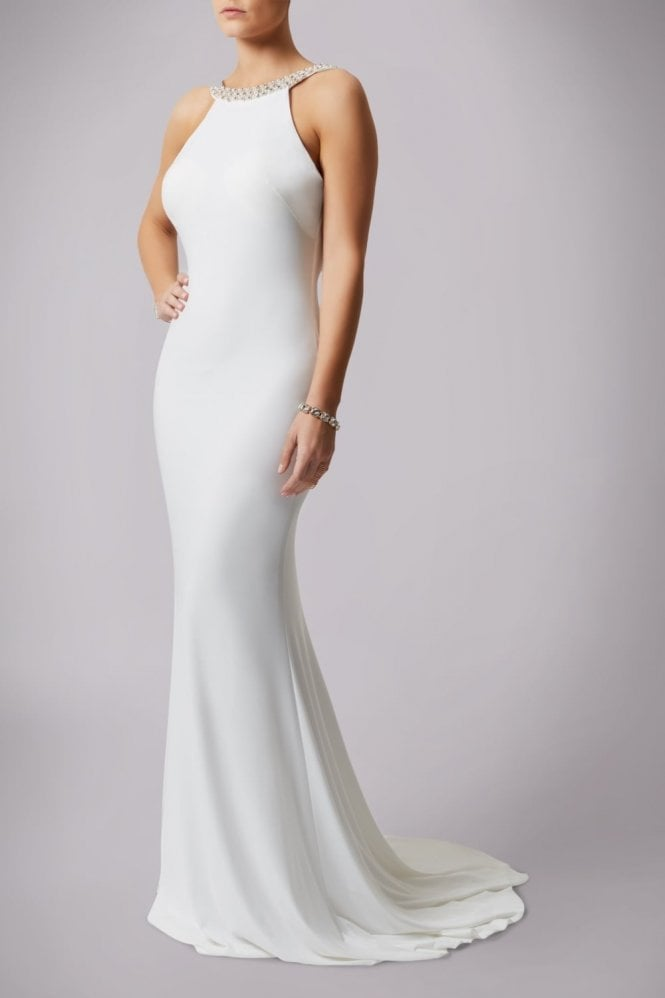 Mascara Ivory 181193 Drop Back Pearl Floor Length Gown