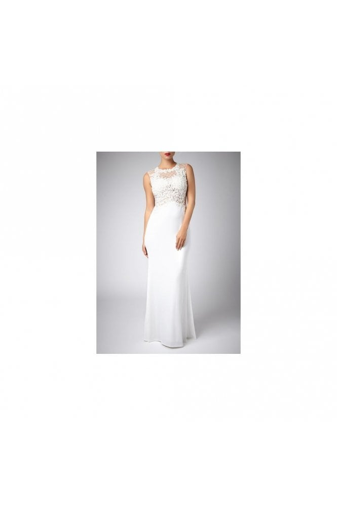 Mascara Ivory Beaded floor length Lace designer Gown 181078