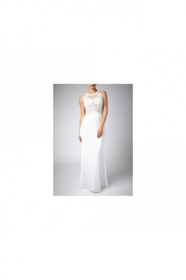Ivory Beaded floor length Lace designer Gown 181078