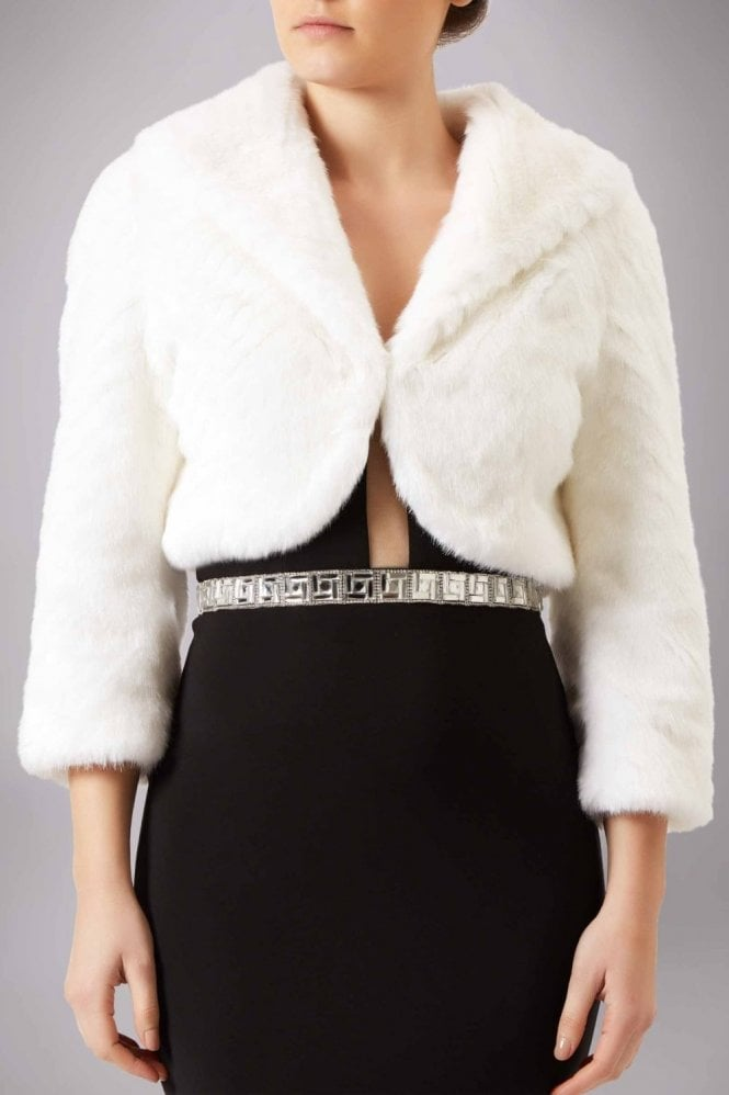 Mascara Ivory collared faux fur bolero FF044