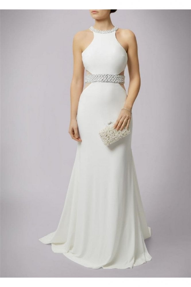 Mascara Ivory Couture Jersey Dress with Pearl Trim MC166084
