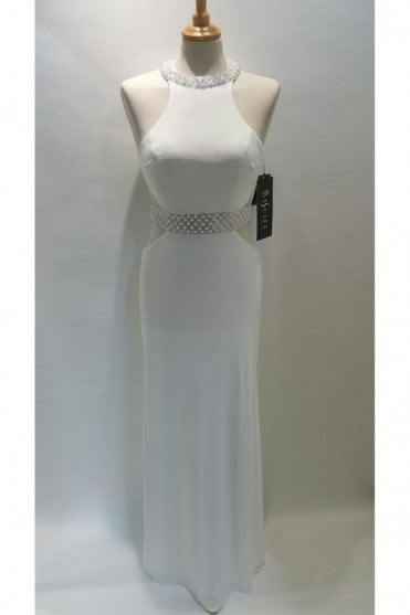 Ivory Couture Jersey Dress with Pearl Trim MC166084