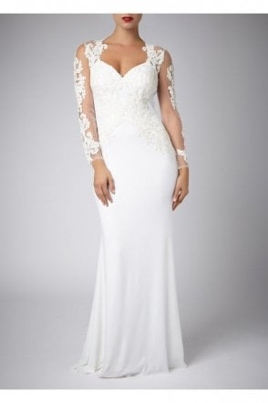 Ivory Lace Sleeve and Jersey Long Gown 181077