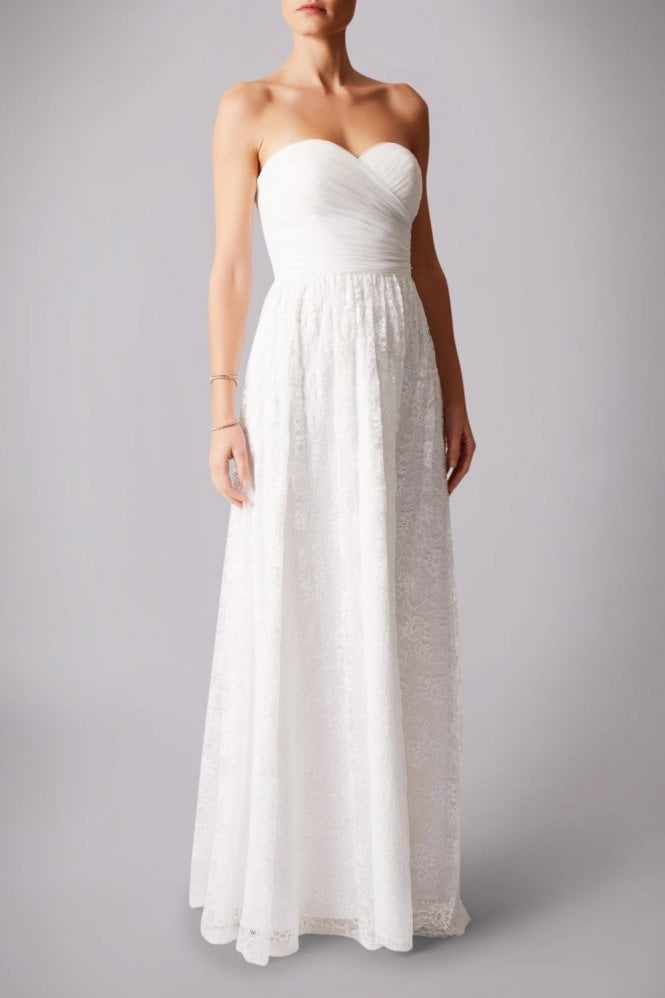 Mascara Ivory MC181224B Pleated lace belt strapless dress