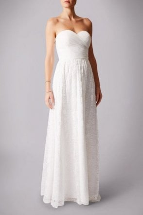 Ivory MC181224B Pleated lace belt strapless dress