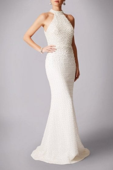 Ivory MC181237B  pearl lace halterneck wedding dress