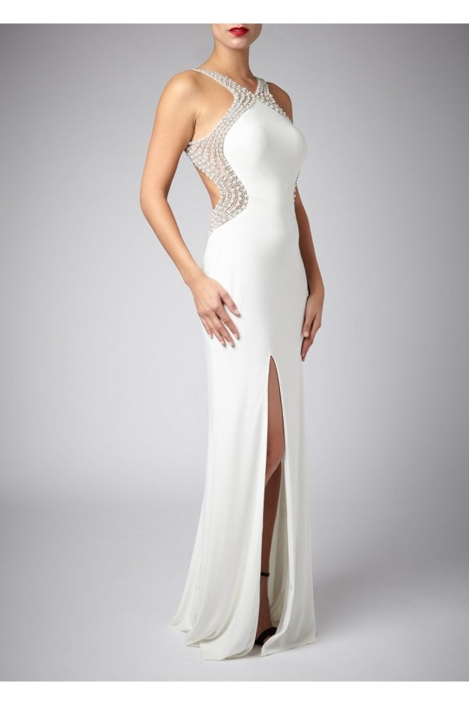 Ivory Pearl Drop Back Couture Gown 185146