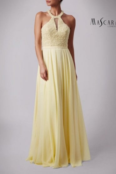 Lemon MC181361 Pearl bodice halter dress
