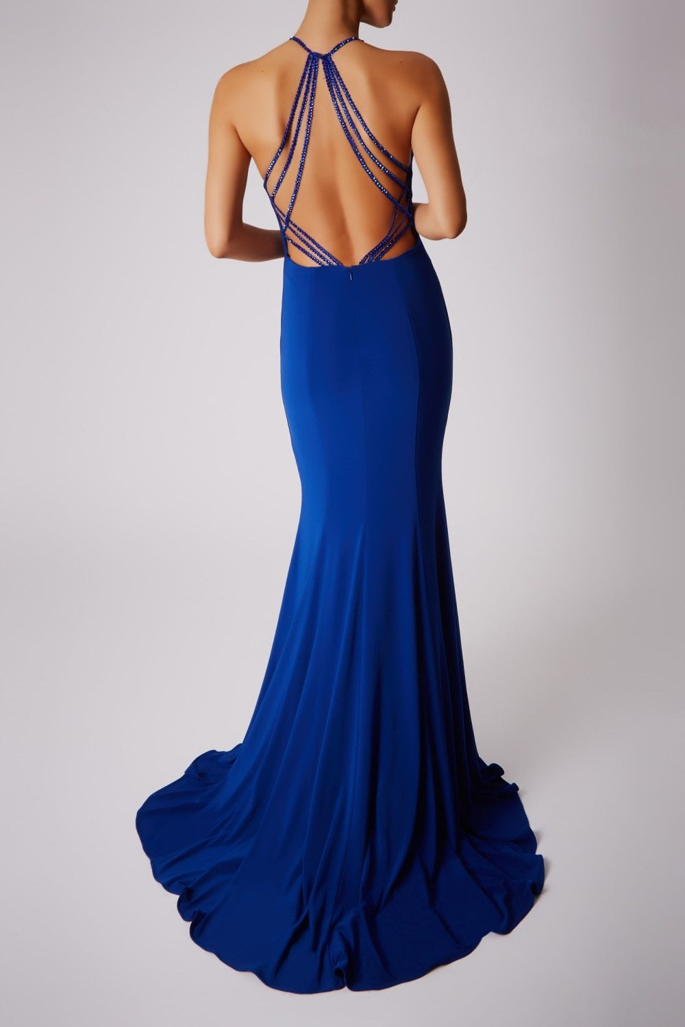 Mascara Mc181360g Sparkle Strap Dress With High Neck In Royal Blue