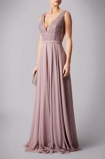 Mauve MC181286BM side vent pearls dress