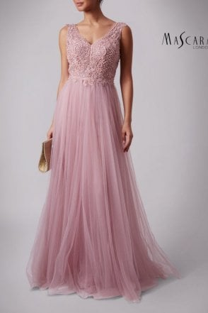Mauve MC181391 Lace embellished dress, tulle skirt