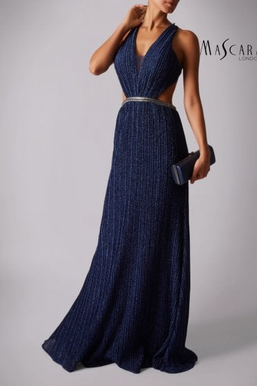 Midnight MC166135 pleated jersey plunge dress