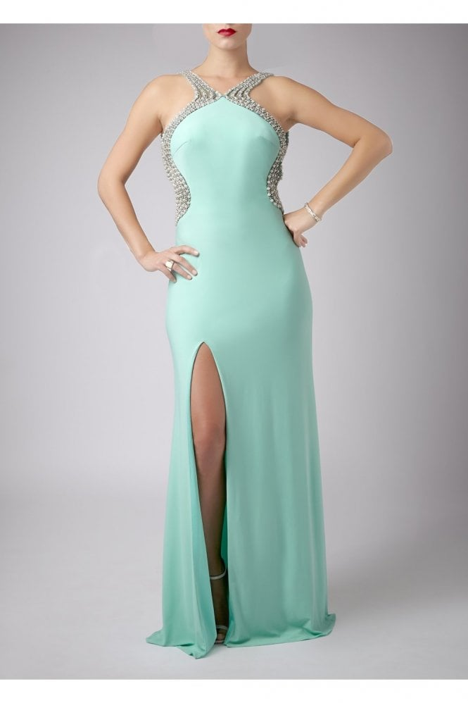 Mint Pearl Drop Back Couture Gown 185146