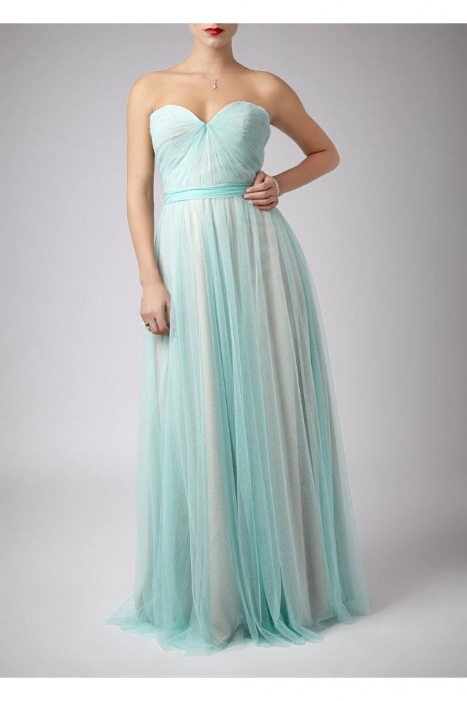 Mascara Mint Pleated Two Tone Strapless Gown 181083