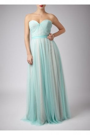 Mint Pleated Two Tone Strapless Gown 181083