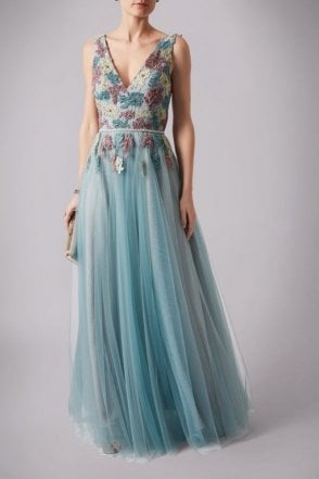Misty Green MC165076 Floral Lace Embroidered dress