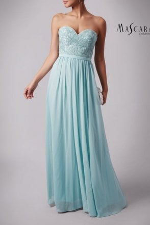 Misty Green MC169032 lace & chiffon bodice dress