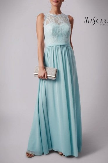 Misty green MC181312B high neck lace top dress
