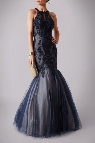 Navy 166107 embroidered floor length mermaid style dress