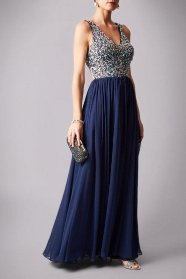 Navy 181181 drop back beads floor length ball gown