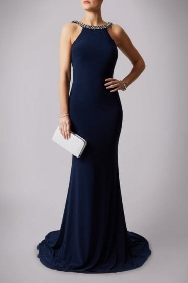 Navy 181193 Drop Back Pearl Floor Length Gown