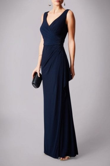 Navy blue MC181245G beaded pleat detail long gown