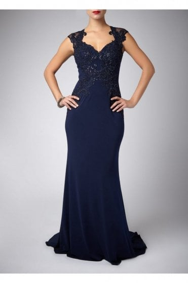 Navy Cap Sleeved Lace & Jersey Gown MC181085G