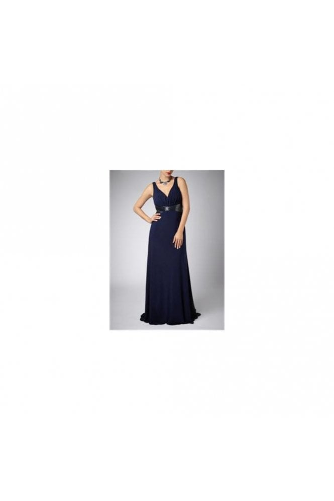 Mascara Navy Cross Bead 185142 gown with beaded waistband