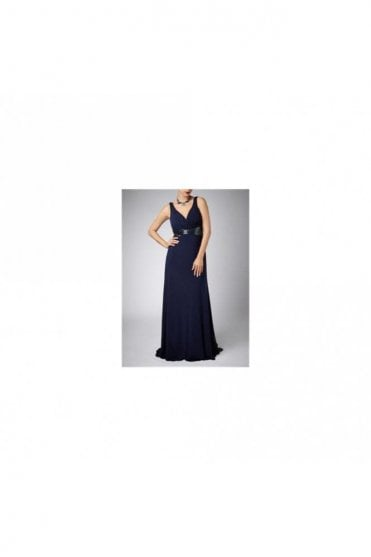 Navy Cross Bead 185142 gown with beaded waistband