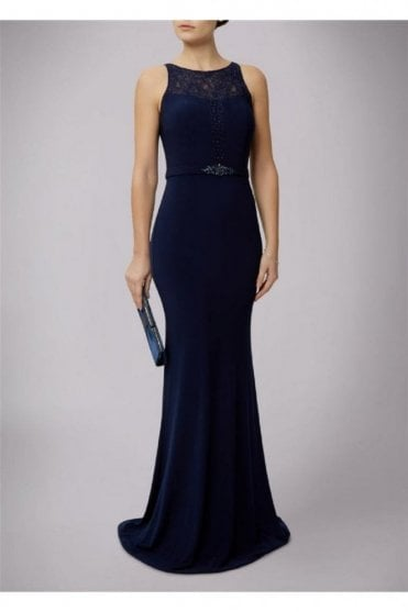 Navy Jersey and Lace Embellished Gown 185175