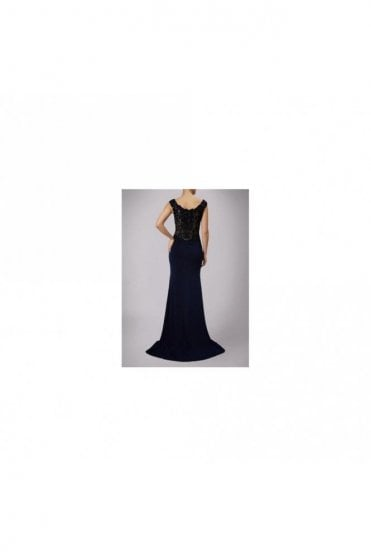Navy Jersey Gown with Lace Back MC181126