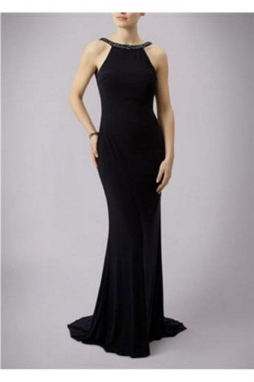 Navy Jewelled Drop Back Gown MC181089