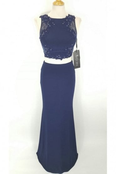 Navy Lace Back Two piece long/short gown MC161055ABC