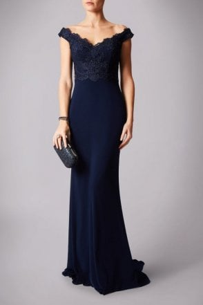 Navy Lace MC1612030G bardot neckline fitted dress