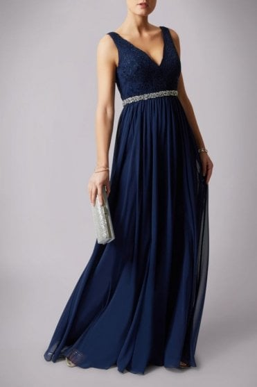 Navy lace shoulder beaded waistband dress MC181141P