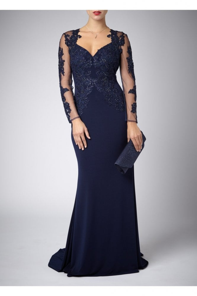 Mascara Navy Lace Sleeve long Gown with Lace detailing 181077