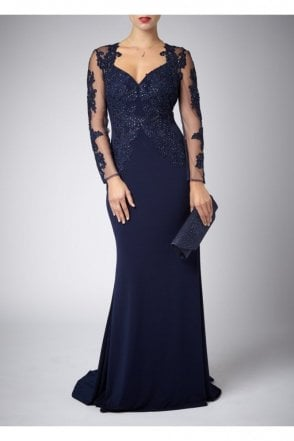 Navy Lace Sleeve long Gown with Lace detailing 181077