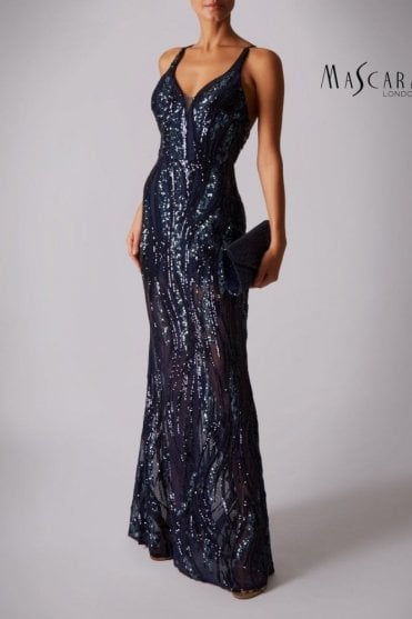 Navy MC1610252 low back sequinned dress