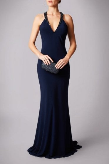 Navy MC161068G Strap back gown with beaded neck