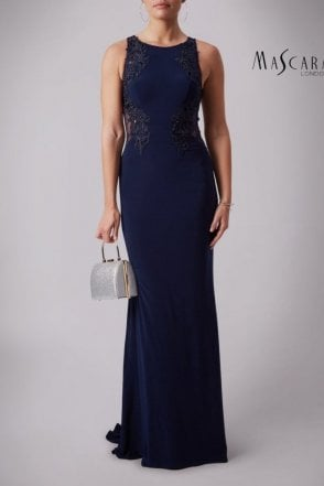 Navy MC1612037 lace applique sheer back long gown