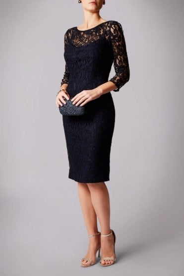 Navy MC162157  lace V-back cocktail dress